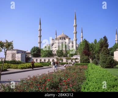 Sultan Ahmed Moschee (Blaue Moschee), vom Sultan Ahmet Park, Fatih District, Istanbul, Republik Türkei - Stockfoto