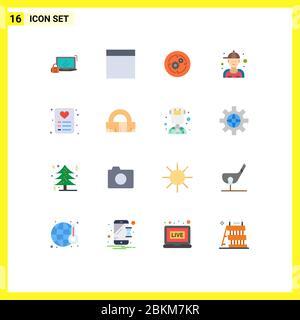16 Universal flache Farbe Zeichen Symbole der Liebe, Reparatur, Geschäft, Klempner, Mann bearbeitbare Packung von kreativen Vektor Design-Elemente - Stockfoto