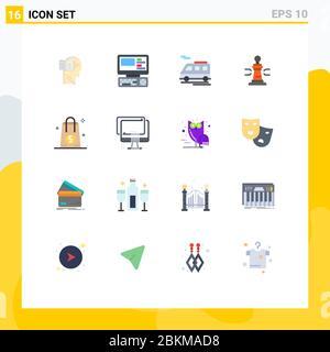 16 Universal Flat Color Zeichen Symbole Dollar, Poker, Bus, König, Spiel editierbar Pack von Creative Vector Design-Elemente - Stockfoto