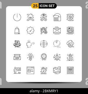 25 Linienkonzept für Websites Mobile und Apps Baum, Herbst, Geld, Herbst, Lebensmittel editierbar Vektor Design Elemente - Stockfoto