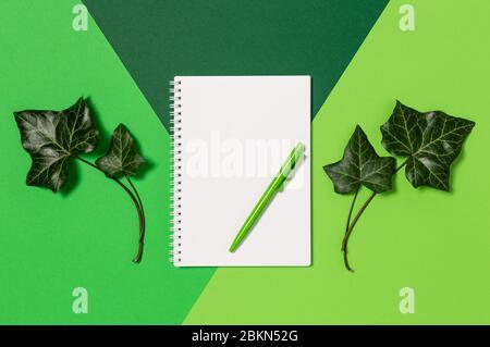 Notizblock mit leerem Papier und Stift auf grünem Hintergrund. Immergrüne Efeu-Blätter. Konzept des Natur- und Umweltschutzes. Flaches Lay, Draufsicht mit Kopie - Stockfoto
