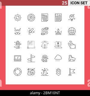 25 Linienkonzept für Websites Mobile und Apps Bericht, Seite, Daten, Daten, Bericht editierbare Vektordesign-Elemente - Stockfoto