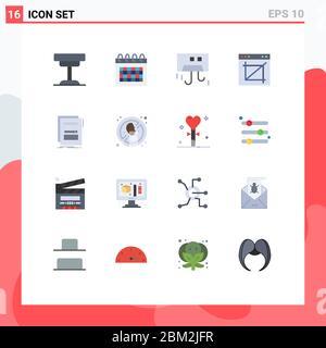 16 Universal flache Farbzeichen Symbole für Web, Crop, Zeit, App, Geräte bearbeitbare Packung von kreativen Vektor Design-Elemente - Stockfoto