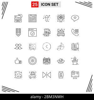 25 Linienkonzept für Websites Mobile und Apps Urlaub, Richtung, Passwort, nach oben, Pfeil editierbar Vektor Design Elemente - Stockfoto