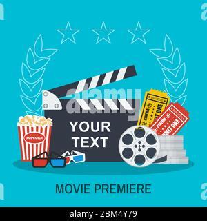 Schabrettafel, Popcorn und Karten. Filmgestaltung und Premiere Konzept. - Stockfoto