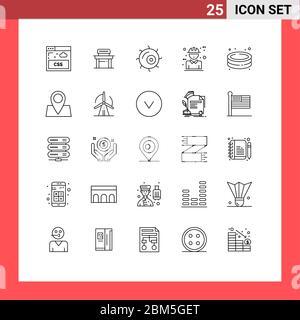 25 Linienkonzept für Websites Mobile und Apps Park, Pool, Mikroskop, Design, Charakter editierbar Vektor Design-Elemente - Stockfoto