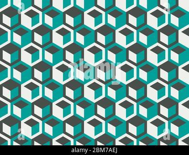 Abstraktes geometrisches Muster mit Sechsecken und Würfeln in Retro-Farben. Nahtlose moderne wiederholen Oberflächenmuster - Stockfoto