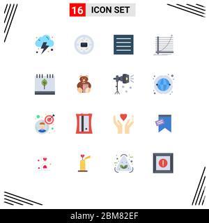16 Universal Flat Color Zeichen Symbole Kalender, Ziel, Kleidung, Erfahrung, Diagramm bearbeitbar Pack von Creative Vector Design-Elemente - Stockfoto