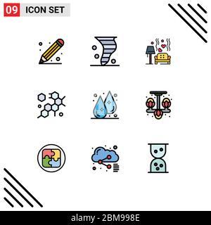 9 Filledline Flat Color Konzept für Websites Mobile und Apps Drop, Molecule, Wind, Zelle, Herz editierbare Vektor Design Elemente - Stockfoto