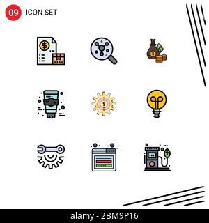 9 Filledline Flat Color Konzept für Websites Mobile und Apps Ausrüstung, Gesicht, Wissenschaft, Creme, Münzen editierbar Vektor Design-Elemente - Stockfoto