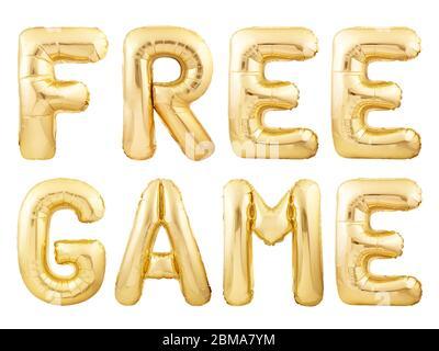 Freies Spiel Wörter aus goldenen aufblasbaren Ballons auf weißem Hintergrund isoliert