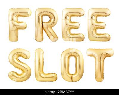Kostenlose slot Worte aus goldenen aufblasbaren Ballons isoliert auf weißem Hintergrund