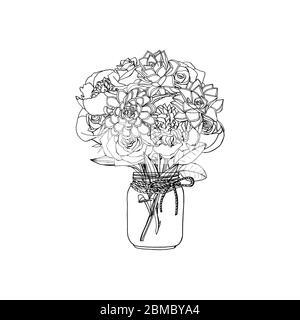 Handgezeichneter Doodle-Stil Bouquet aus verschiedenen Blumen, saftig, Pfingstrose, Rose - Stockfoto