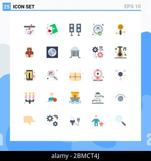 Set von 25 modernen UI-Symbole Symbole Zeichen für dsgvo, Compliance, Liebe, Sicherheit, Lautsprecher editierbar Vektor Design-Elemente - Stockfoto