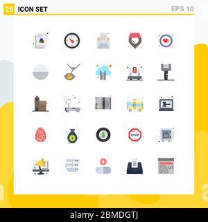 Set von 25 modernen UI-Symbole Symbole Zeichen für Liebe, Kreis, Umschlag, Supermarkt, Ort editierbar Vektor Design-Elemente - Stockfoto