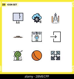 9 Filledline Flat Color Konzept für Websites Mobile und Apps movember, Schnurrbart, Computing, Tool, Geometrie editierbar Vektor Design Elemente - Stockfoto