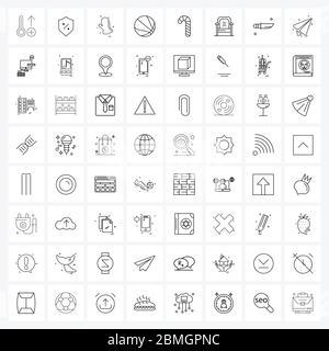 64 Universal Icons Pixel Perfect Symbole des Sessels, süß, Handschuhe, Süßigkeiten, Kugel Vektor Illustration - Stockfoto