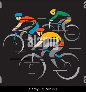 Drei Straßenradler, Wettbewerb. Stilisierte bunte Zeichnung von Radfahrern mit voller Geschwindigkeit. Isoliert auf schwarzem Hintergrund. Vektor verfügbar. - Stockfoto