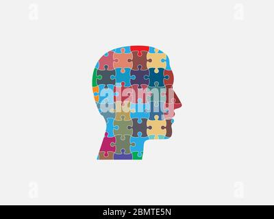 Menschlicher Kopf, Puzzle-Symbol. Vektorgrafik, flaches Design. - Stockfoto