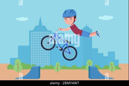 Boy führt einen Stunt auf einem bmx-Fahrrad in einem Park. Vektor-Illustration Cartoon Charakter Junge bmx Bike Fahrer tricking in den Park. Kind im Helm ist enga - Stockfoto