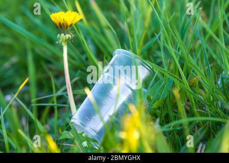 Ein Plastikbecher wurde ins Gras geworfen. Verschmutzung der Natur. Umweltschutz. Die Vorstellung von der Gefahr von Plastik und Einweg