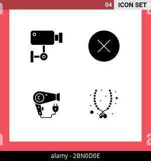 Set von modernen UI Icons Symbole Zeichen für Kamera, Trockner, Überwachung, Medien, Haartrockner editierbare Vektor Design-Elemente - Stockfoto