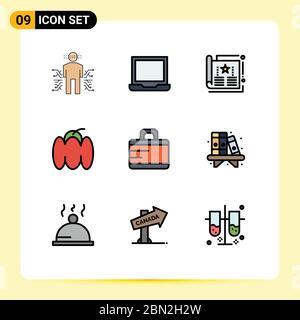 9 Filledline Flat Color Konzept für Websites Mobile und Apps Pfeffer, Glocke, Präferenz, Magazin, Cover editierbar Vektor Design Elemente - Stockfoto