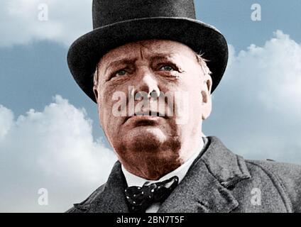 Winston CHURCHILL (1874-1965) britischer Staatsmann um 1940 - Stockfoto