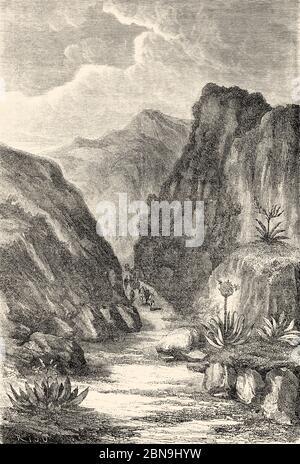 Quebrada del Cusco, schmaler Pass zwischen Bergschlucht. Peru, Südamerika. Alte gravierte Illustration aus dem 19. Jahrhundert, Le Tour du Monde 1863 - Stockfoto