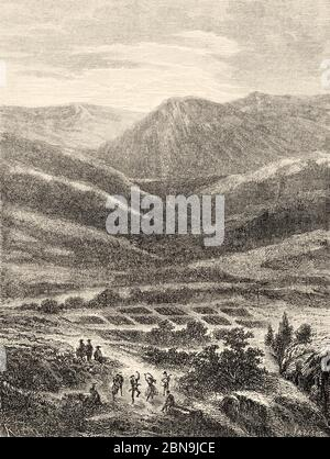 Blick auf den alten Himmelsgang, Umgebung von Cusco, Peru, Südamerika. Alte gravierte Illustration aus dem 19. Jahrhundert, Le Tour du Monde 1863 - Stockfoto