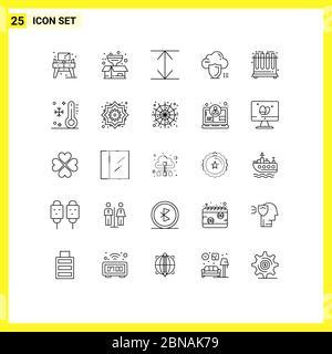 25 Linienkonzept für Websites Mobile und Apps Tuben, Chemie, Pfeile, Schutz, Schild editierbar Vector Design Elemente - Stockfoto