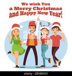 Freunde feiern Weihnachten. Frohe Weihnachten und Neujahr Party mit glücklichen Cartoon Mädchen und Jungen Illustration Vektor - Stockfoto