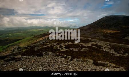 Hütte Kreis Gruppen innerhalb der Eisenzeit Hill fort, Tre'r Ceiri in der Nähe von Jahr Eifl, oben Nefyn, Gwynedd, Wales, September 2013. - Stockfoto