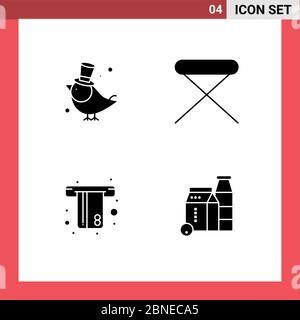 Satz von modernen UI-Symbole Symbole Zeichen für Vogel, atm, Spatz, Haus, Geld editierbare Vektor Design-Elemente - Stockfoto