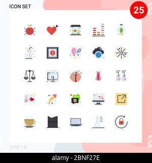Set von 25 modernen UI-Symbole Symbole Zeichen für Innovation, Sound, Zuhause, Musik, Audio editierbare Vektor Design-Elemente - Stockfoto