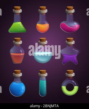 Glasflaschen mit verschiedenen Flüssigkeiten. Bilder im Cartoon-Stil - Stockfoto