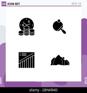 Satz von modernen UI-Symbole Symbole Zeichen für Unternehmen, Graph, Zeit, Tabelle, Präsentation editierbare Vektor-Design-Elemente - Stockfoto