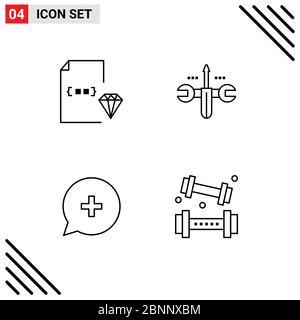 4 User Interface Line Pack moderner Zeichen und Symbole für Codierung, hinzufügen, Dokument, Computing, neue editierbare Vektor Design-Elemente - Stockfoto