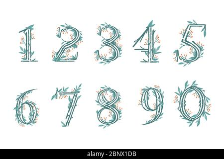 Satz von Zahlen 0 bis 9 Baum Äste mit grünen Blättern und Beeren botanische Blumen floral Art Design Element flach Vektor Illustration - Stockfoto