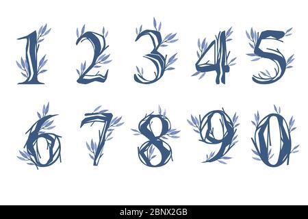Satz von Zahlen 0 bis 9 Baum Äste mit blauen Blättern botanische Blumen floral Art Design Element flach Vektor Illustration - Stockfoto