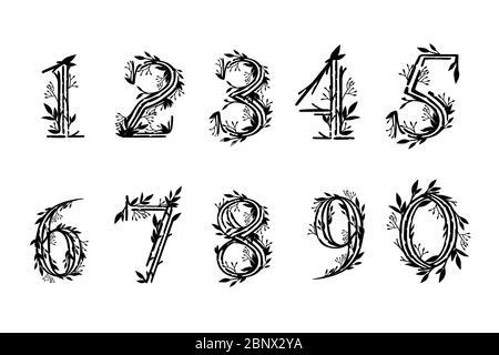 Schwarze Silhouette Satz von Zahlen 0 bis 9 Baum Äste mit Blättern botanische Blumen floral Kunst Design Element flach Vektor Illustration - Stockfoto