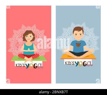 Yoga Kinder bunte vertikale Flyer Design-Set. Vektorgrafik - Stockfoto