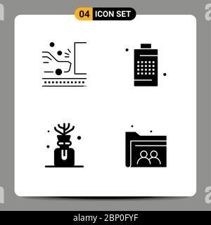 Satz von modernen UI-Symbole Symbole Zeichen für Unfall, Macht, Sicherheit, Zelle, Öl editierbare Vektor Design-Elemente - Stockfoto