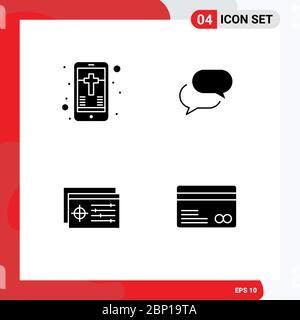 Satz von modernen UI-Symbole Symbole Zeichen für mobile, Controller, Kreuz, sms, Objekt editierbare Vektor Design-Elemente - Stockfoto