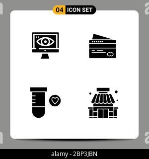 Set von modernen UI-Symbole Symbole Symbole Zeichen für Computer, Raum, Karte, zahlen, Shop editierbar Vektor Design-Elemente - Stockfoto
