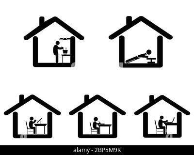 Dinge zu Hause zu tun während der covid-19 Sperre bleiben zu Hause Quarantäne. Piktogramm mit verschiedenen Aktivitäten zu Hause zu tun. Koch Arbeit malen zeichnen Studie - Stockfoto