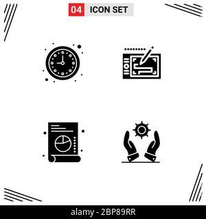 Satz von modernen UI-Symbole Symbole Zeichen für Unternehmen, Graph, Uhr, Präsentation, Business editierbare Vektor-Design-Elemente - Stockfoto