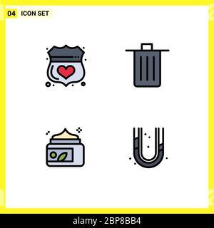 Set von 4 modernen UI-Symbole Symbole Zeichen für Wache, Müll, sicher, gewesen, Lotion editierbare Vektor Design-Elemente - Stockfoto