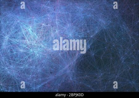 Verschaltet künstlichen Neuronen, biomechanische Zellen in einem Konzept der künstlichen Intelligenz verbunden. - Stockfoto