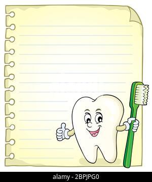 Notizblock Seite mit glücklichen Zahn - Bild Illustration. - Stockfoto